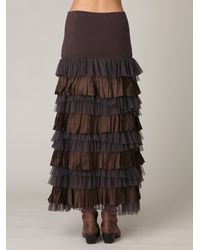Free People - Gray Fp One Ruffled Layers Maxi Skirt - Lyst