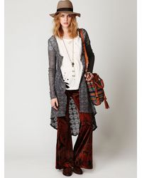 Free People | Metallic Crochet Love Long Sleeve Cardi | Lyst