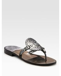 Jack Rogers | Metallic Leather Thong Sandals | Lyst