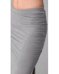 James Perse - Gray Long Side Split Skirt - Lyst