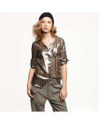 J.Crew | Metallic Silk Camp Shirt  | Lyst