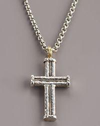 Konstantino | Metallic Hammered Rope Cross Pendant for Men | Lyst