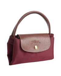 Longchamp | Red Raisin Nylon Le Pliage Small Folding Tote | Lyst