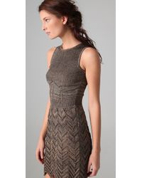 M Missoni - Gray Space Dye Chevron Knit Dress - Lyst