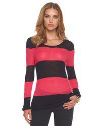 MICHAEL Michael Kors | Black Striped Open-knit Sweater | Lyst