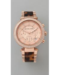 Michael Kors | Pink Parker Glitz Chronograph Watch | Lyst