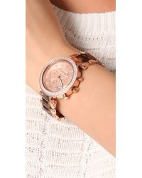 Michael Kors - Pink Parker Glitz Chronograph Watch - Lyst