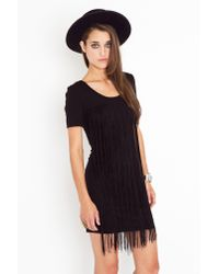 Nasty Gal | Black Fringe Tee Dress | Lyst