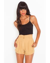 Nasty Gal - Natural Ethel Trouser Shorts - Lyst
