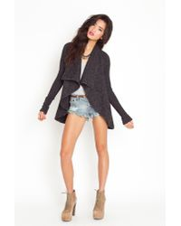 Nasty Gal - Gray Draped Knit Jacket - Charcoal - Lyst