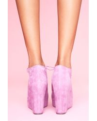 Nasty Gal | Purple 99 Tie Wedge - Lavender Suede | Lyst