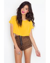 Nasty Gal | Yellow Sunny Silk Crop Top | Lyst