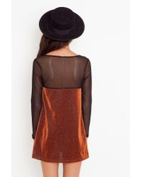 Nasty Gal | Brown Sasa Sparkle Dress - Rust | Lyst