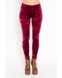 Nasty Gal - Purple Crushed Velvet Leggings  - Lyst