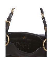 Prada | Black Leather Zipper Detail Shoulder Bag | Lyst
