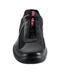 Prada | Sport Black Leather and Mesh Sneakers for Men | Lyst