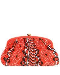 Santi | Red Navoho Tribal Beaded Clutch Bag | Lyst