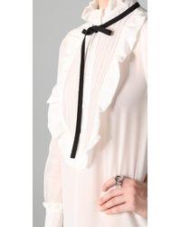 Sonia by Sonia Rykiel - White Tie Neck Long Sleeve Dress - Lyst