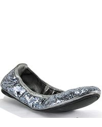 Tory Burch | Metallic Pewter Glitter Ballet Flat | Lyst
