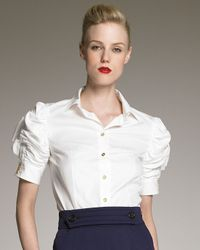 Saint Laurent | White Ruched-sleeve Poplin Blouse | Lyst