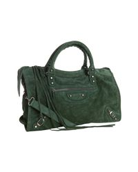 Balenciaga | Green Suede City Convertible Satchel | Lyst