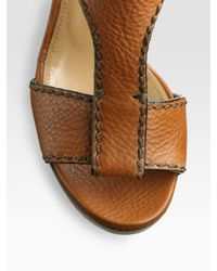 Chloé | Brown Leather T-strap Platform Wedge Sandals | Lyst