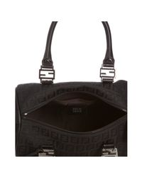 Fendi | Black Zucchino Canvas Leather Trimmed Small Forever Bag | Lyst