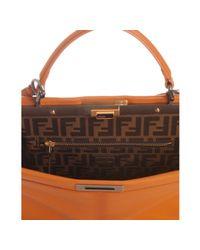 Fendi | Orange Calf Leather Peekaboo Satchel | Lyst