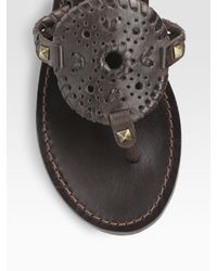 Jack Rogers - Brown Georgica Studded Leather Thong Sandals - Lyst