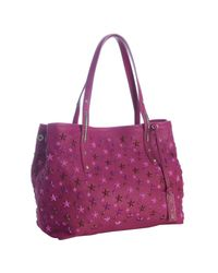 Jimmy Choo | Purple Raspberry Leather Scarlet Star Studded Tote | Lyst