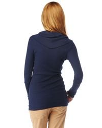 Splendid | Blue Thermal Cowl Neck Top | Lyst
