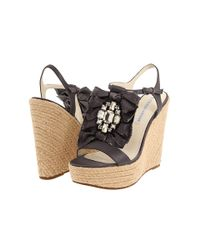 Vera Wang Lavender | Black Paige Wedge Sandals | Lyst