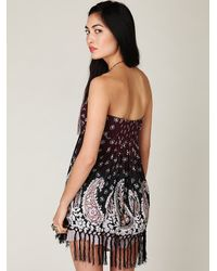 Free People | Black Paisley Fringe Tube Top | Lyst