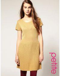 ASOS Collection | Metallic Asos Petite Drop Waisted Lurex Knitted Dress | Lyst