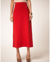 ASOS Collection - Red Asos Midaxi Skirt - Lyst