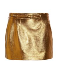 Gucci | Metallic Leather Mini Skirt | Lyst