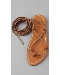 K. Jacques - Brown Bikini Ankle Wrap Sandals - Lyst