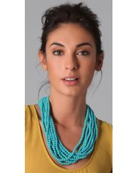 Kenneth Jay Lane - Blue Turquoise Clasp Necklace - Lyst