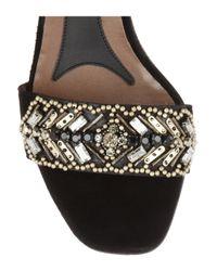 Marni | Black Embellished Suede Sandals | Lyst