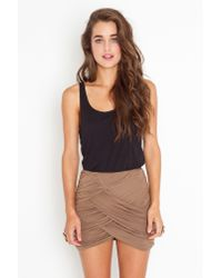 Nasty Gal | Brown Ruched Drape Skirt - Mocha | Lyst
