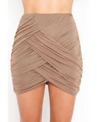Nasty Gal - Brown Ruched Drape Skirt - Mocha - Lyst