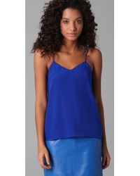 Tibi - Blue Racer Back Silk Camisole - Lyst