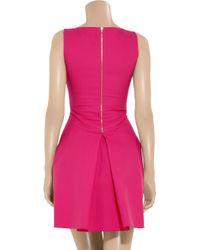 Antonio Berardi - Pink Box-pleat Stretch Cotton-crepe Dress - Lyst