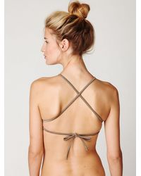 Free People - Brown High Neck Bikini Top - Lyst