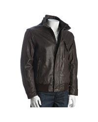 Marc New York   Brown Espresso Leather Logan Faux Fur Collar Bomber Jacket for Men   Lyst