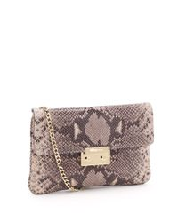 MICHAEL Michael Kors | Multicolor Sloan Python Embossed Clutch | Lyst