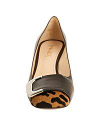 Prada | Black Leather Leopard Print Calf Hair Block Heel Pumps | Lyst