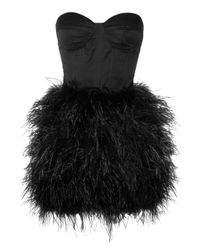 Rare Opulence - Black Feather-Embellished Satin Bustier Dress - Lyst