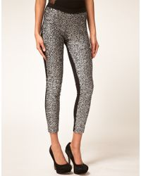 ASOS Collection - Black Leggings with Embellished Panels - Lyst