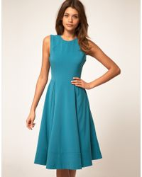 ASOS Collection | Blue Midi Dress with Full Skirt | Lyst